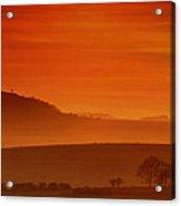 Misty Sunset Acrylic Print by Mark Leader
