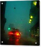 Misty View Of Car Lights On A City Acrylic Print