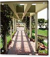 Mix Of Light And Shade Under A Partially Covered Pathway With Pillars Acrylic Print