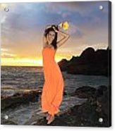Model In Orange Dress Acrylic Print