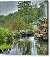 Mohonk Koi Pond On A Rainy Day Acrylic Print