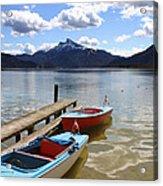 Mondsee Lake Boats Acrylic Print