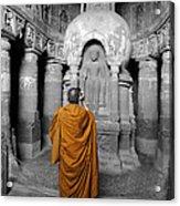 Monk At Ajanta Caves India Acrylic Print