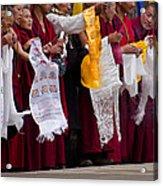 Monks Wait For The Dalai Lama Acrylic Print