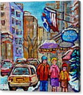 Montreal Street Scenes In Winter Acrylic Print