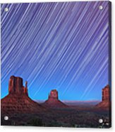 Monument Valley Star Trails  Acrylic Print by Jane Rix