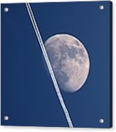 Moon And Aircraft Contrails Acrylic Print