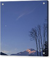 Moon And Alpenglow Acrylic Print