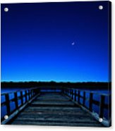 Moon And Venus In The Blue Acrylic Print