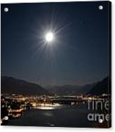 Moon Light Over An Alpine Lake Acrylic Print