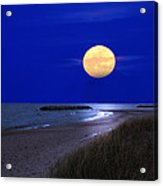 Moon On The Beach Acrylic Print