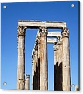 Moon Over Corinthian Columns Of The Temple Of Olympian Zeus Ancient Greek Architecture Athens Greece Acrylic Print