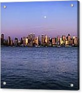 Moon Over Midtown Manhattan Skyline Acrylic Print