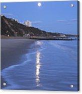 Moon Reflecting In The Sea, Bournemouth Beach, Dorset, England, Uk Acrylic Print