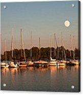 Moon Rises Over The Marina Acrylic Print