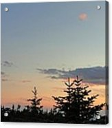 Moon Watching The Sunset In Acadia Acrylic Print