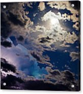 Moonlit Clouds With A Splash Of Lightning Acrylic Print