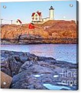 Moonrise At Nubble Light  Acrylic Print