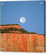 Moonrise Over East Temple - Zion  Acrylic Print