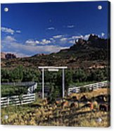 Moonrise Over Grand View Ranch Acrylic Print