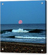 Moonrise Rexham Beach Acrylic Print by Malcolm Lorente
