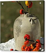 Moonshine Jug And Pumpkin On A Stick Acrylic Print