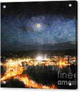 Moonshine Over Prescott Acrylic Print by Arne Hansen