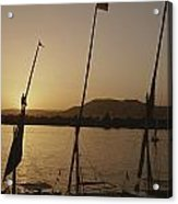 Moored Feluccas On The Nile River Acrylic Print by Kenneth Garrett