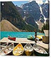 Moraine Lake - Banff National Park - Canoes Acrylic Print