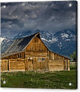 Mormon Barn Under Approaching Storm Acrylic Print