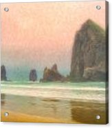 Morning Mist At Haystack Rock Acrylic Print