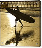 Morning Session Longboard Surfing Folly Beach Sc  Acrylic Print
