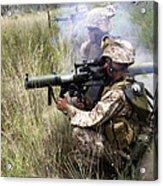 Mortarman Fires An At4 Anti-tank Weapon Acrylic Print by Stocktrek Images