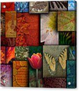 Mosaic Earth Tone Nature Rough Patterns Acrylic Print