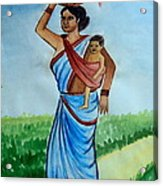 Mother And Child Acrylic Print by Tanmay Singh