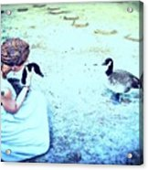 Mother And Geese Acrylic Print by YoMamaBird Rhonda