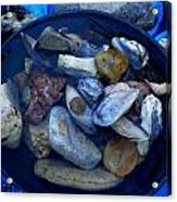 Mother Earth Stones Reloeding Fullmoon Energy In Ice Cold Water Acrylic Print