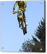 Motocross Rider Jumping High Acrylic Print by Matthias Hauser