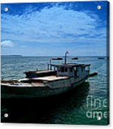 Motor Boats Docked At The Pier Acrylic Print