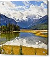 Mount Kitchener Reflected In Pond Acrylic Print by Yves Marcoux