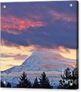 Mount Rainier Shrouded In Clouds Acrylic Print
