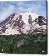 Mount Rainier With Coniferous Forest Acrylic Print