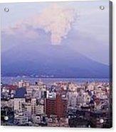 Mount Sakurajima Erupting In Front Of Acrylic Print