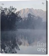 Mountain And Trees Reflected In The Water Acrylic Print
