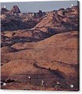 Mountain Bike Riders On Slickrock Trail Acrylic Print by Joel Sartore