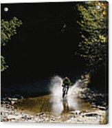 Mountain Biker Splashing Through Water Acrylic Print