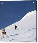 Mountain Climbers Use Safety Ropes Acrylic Print