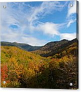 Mountain Foliage And Blue Skies Acrylic Print