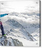 Mountain Guide Snowboard Instructor Pointing Out Peaks In Davos Acrylic Print