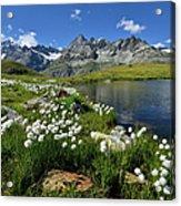 Mountain Lake, Near Schwarzee, Zermatt Acrylic Print